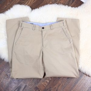Lands' End Traditional Fit Flat Front Khaki 32